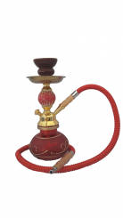 Golden Red Small Hookah Pipe 1 hose